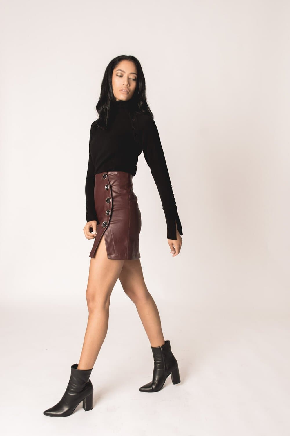 Brooke Button Skirt -Leather