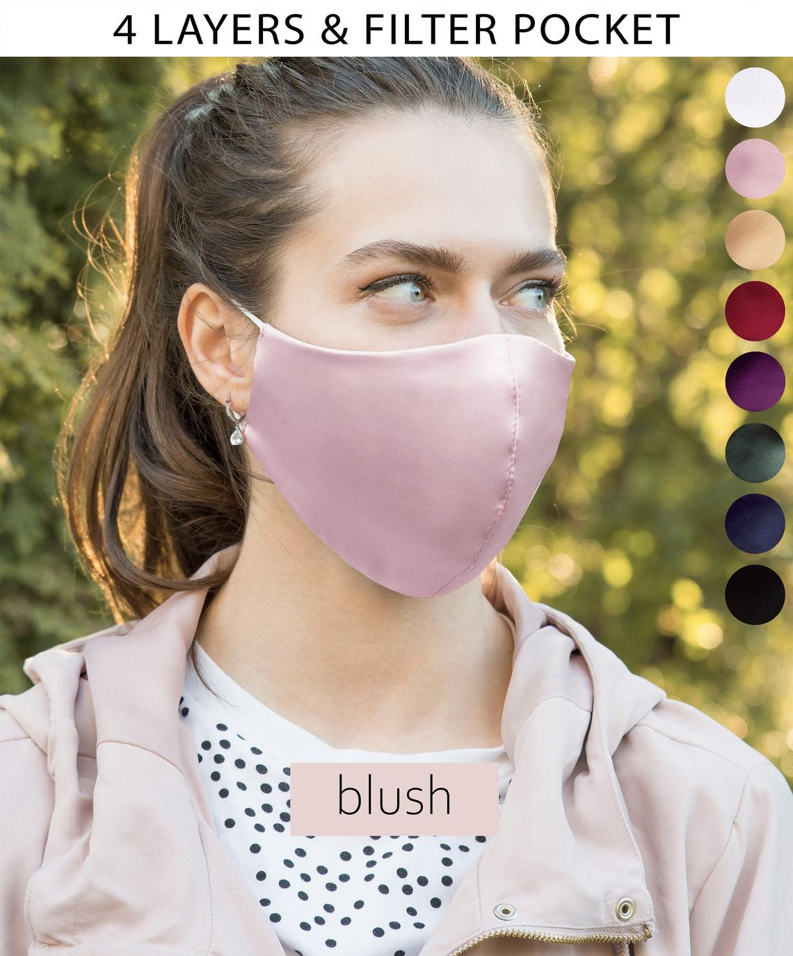 silk mask face covering  filter pocket 2.5 pm adjustable straps reusable washable bridal special occassion