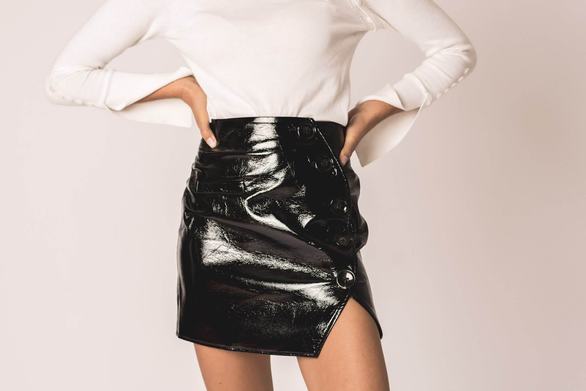Brooke Button Skirt -Eco Leather