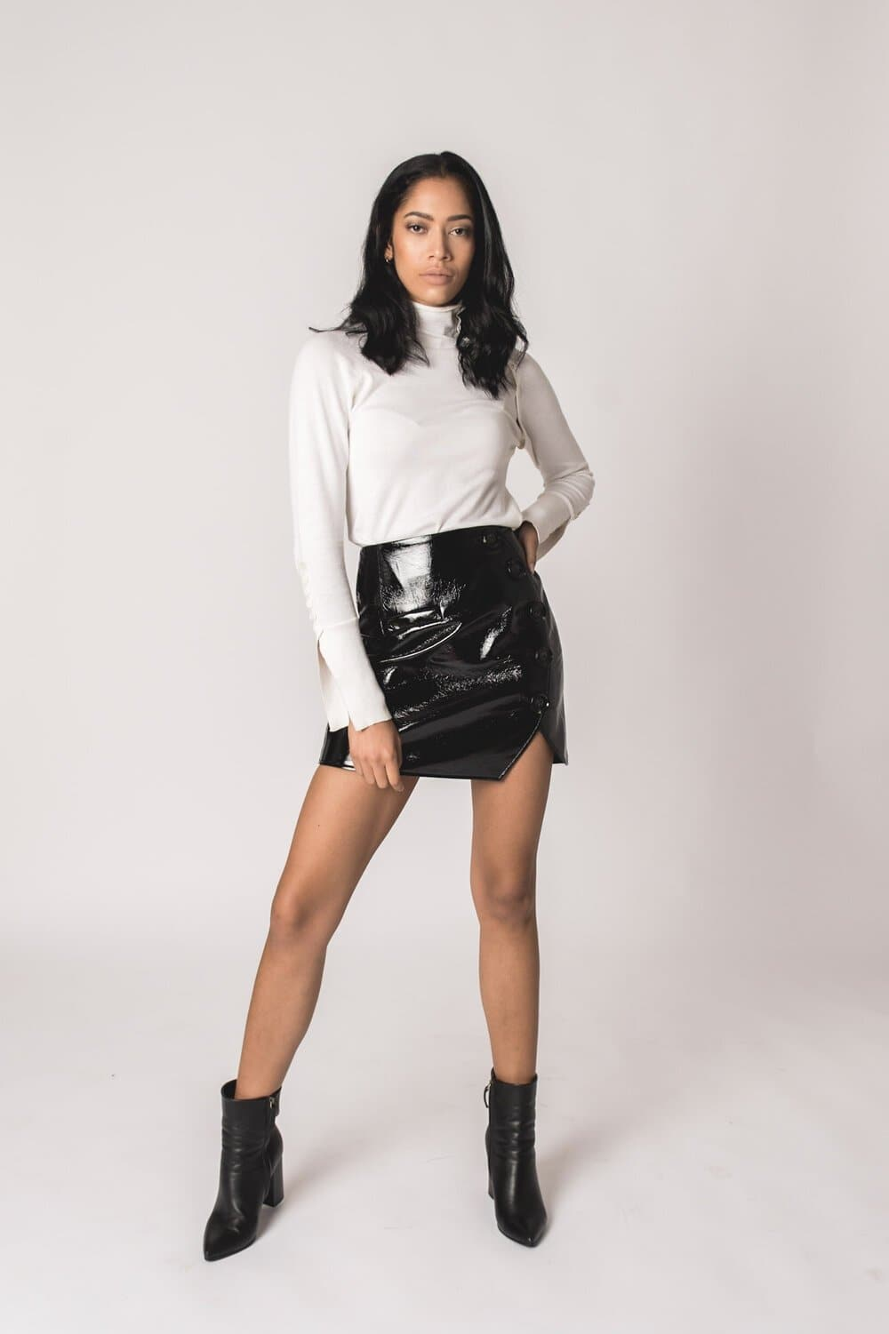Brooke Button Skirt -Eco Leather Bottom Karen Thomas NY