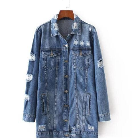 Distressed Denim Boyfriend Jacket Jacket Karen Thomas NY xs