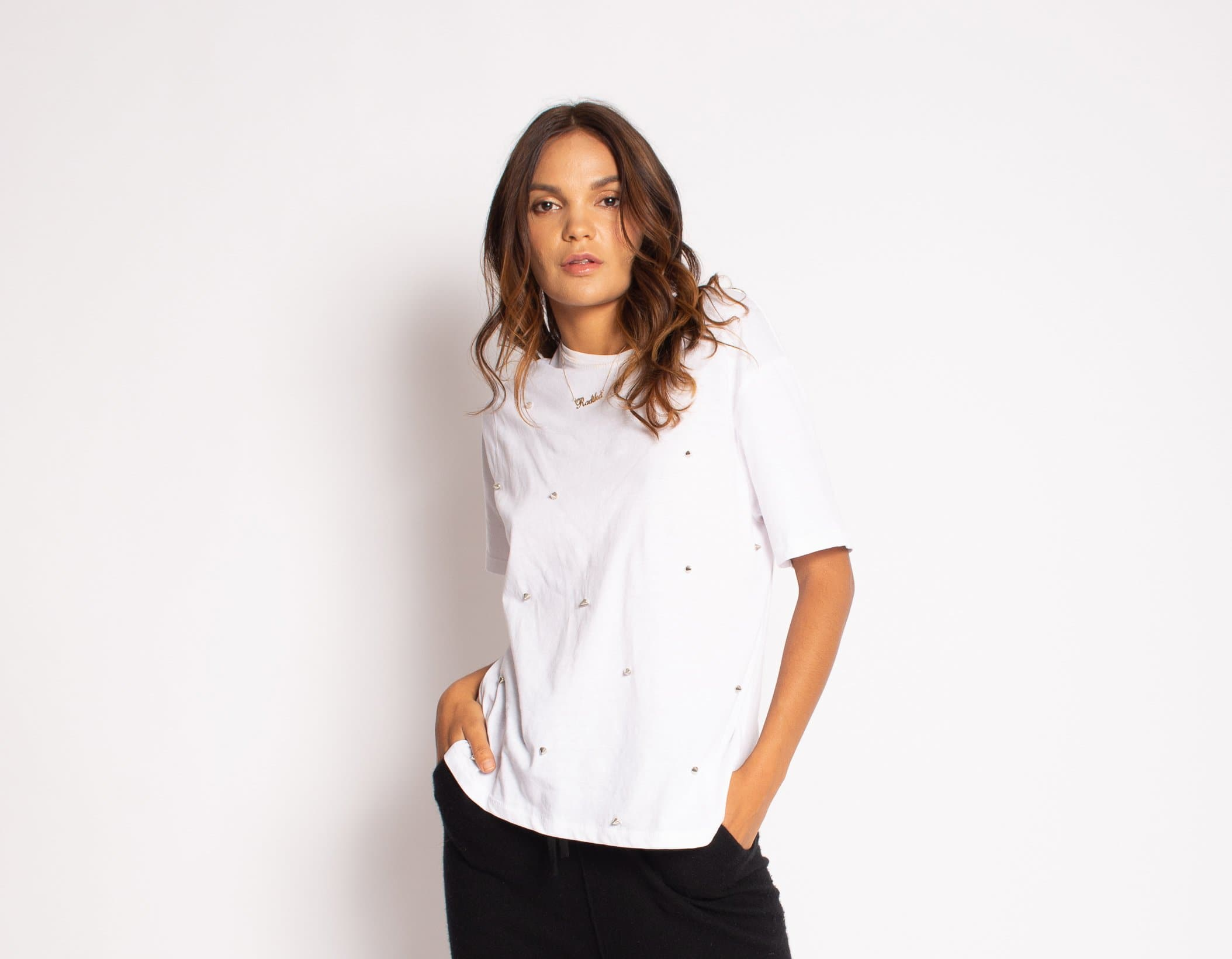 Everyday Embellished Organic Cotton Tee tops Karen Thomas NY s white