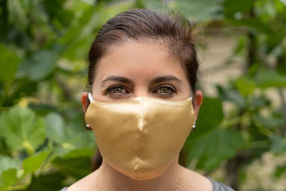 100% Silk Face Masks - Made In Usa - Adjustable Coverings - Gold - pm 2.5 filter included