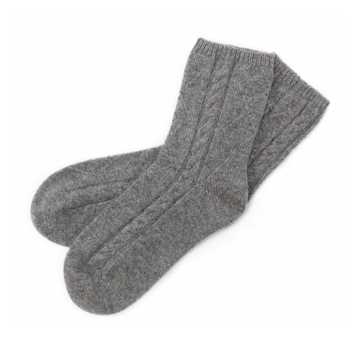 Cable Knit Cashmere Socks