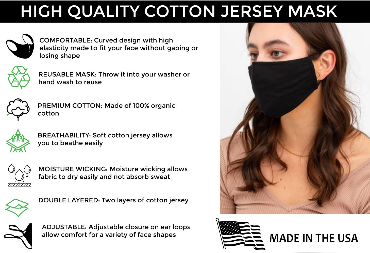 Pack of five (5) Soft Organic Cotton Protective Masks - Made In Usa - Adjustable!- Ship same business day.