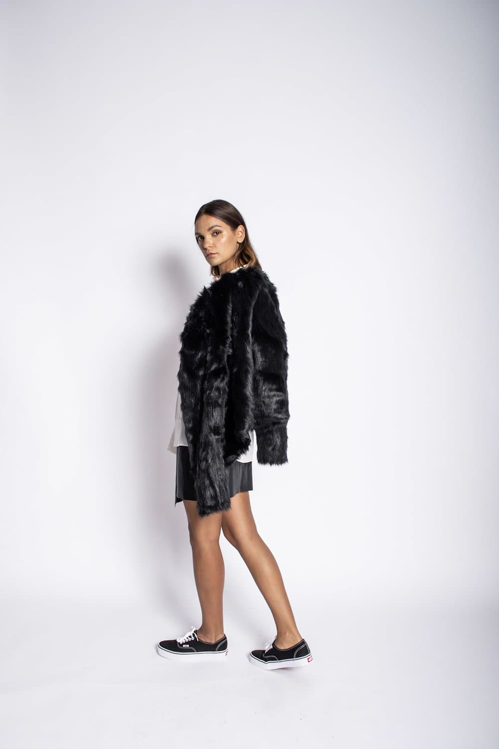 Pebbled Leather Jacket with Fox Fur Lining Jacket Karen Thomas NY