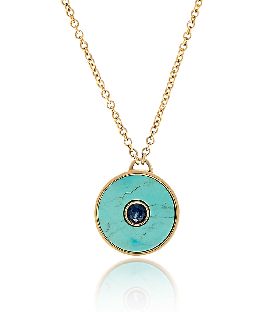 Chloe Classic Collection, Necklace, The Power Within Me, Turquoise, Yellow Gold, Blue Sapphire