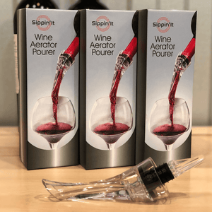 3 pack Sippin'It wine aerator pourers that instantly aerates by injecting air bubbles directly into the wine as you pour releasing aromas and intensifying flavor with a drip-free pour.