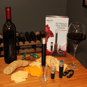 The Sippin'It 4 Piece wine opener set including an foil cutter, air pressure wine bottle opener, wine aerator pourer and wine vacuum sealer all in a high quality gift set.
