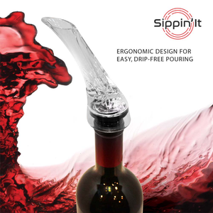 The Sippin'it aerator pourer with ergonomic design for drip-free wine pouring.