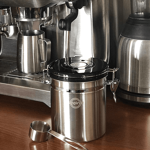 Sippin'It Airtight Stainless Steel Coffee Storage container to lock in coffee's natural flavor and filter out harmful CO2 enzymes