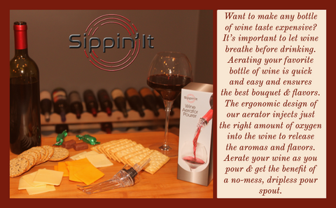 The Sippin'It wine aerator pourer improves the taste of any wine. This unique design instantly aerates by injecting air bubbles directly into the wine as you pour, releasing aromas and intensifying flavors. This ergonomic wine dispenser controls the flow of wine for drip-free pouring. Perfect wine accessory gift for men and women at any occasion