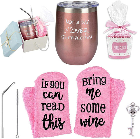 "The beautiful gift box comes with a 12 oz Wine Tumbler with ""Not A Day Over Fabulous"" and a stylish cupcake wine sock that says ""If You Can Read This, Bring Me Some Wine."" Plus the straws, cleaning brush and key bottle opener will make make this gift more valuable, the perfect gift!"
