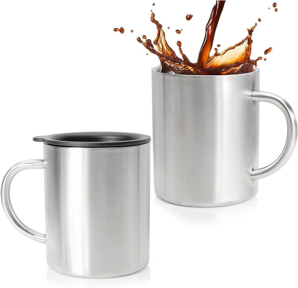 Sippin'It Stainless Steel Coffee Mug Set Of 2 - Double Wall Insulated Coffee Mug With Lid - Shatterpoof Thermal Coffee Mugs - Perfect Travel Cups For Hot & Cold drinks