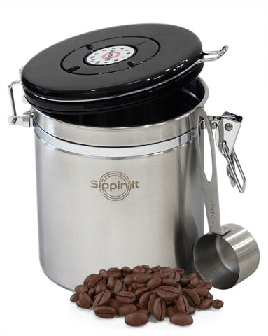 Sippin'It Airtight Coffee beans storage container to filter out CO2 and keep beans fresh for up to 6 months