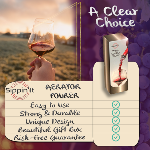 The Sippin'It wine aerator pourer instantly aerates by injecting air bubbles directly into the wine as you pour releasing aromas and intensifying flavor with a drip-free pour.
