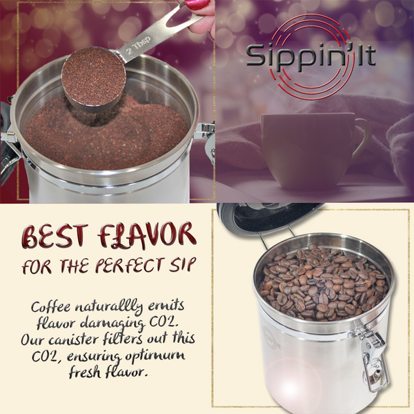 Sippin'It coffee storage canister made from premium stainless steel holds 16oz of coffee in an airtight seal that locks out light, moisture and oxygen while filtering our harmful CO2.