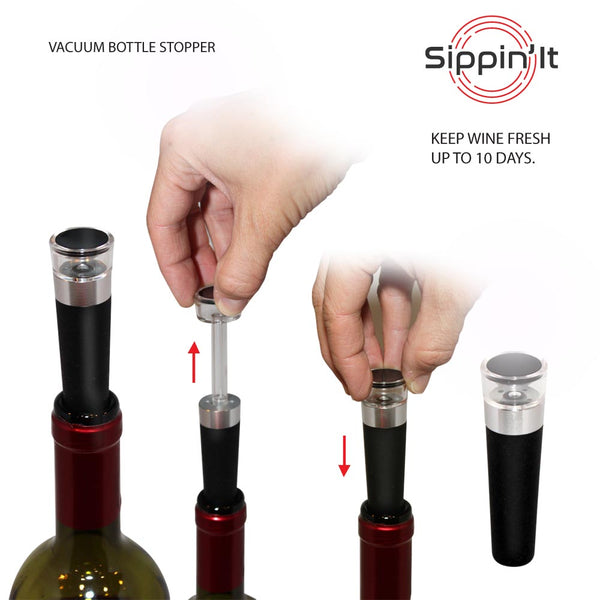 Sippin'It wine bottle vacuum sealer with built-in pump to seal in flavor for up to 10 days.