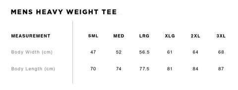 No Fit State Mens Heavy Weight Tee Size Guide