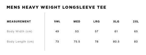 No Fit State Long Sleeve Tee Size Guide