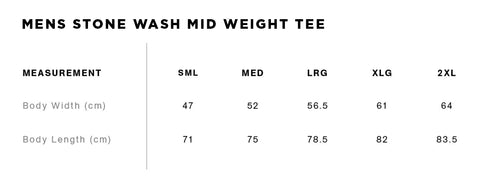 Stone Wash Tee Size Guide