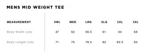 Mens Mid Weight Tee Size Guide
