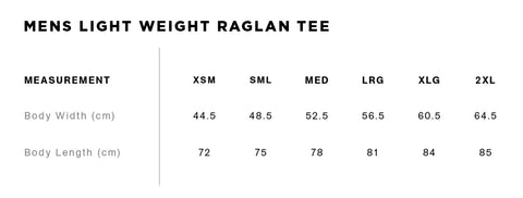 No Fit State Raglan Size Guide