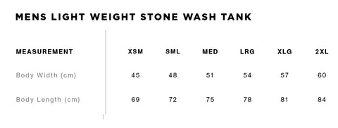 No Fit State Tank Top Size Guide