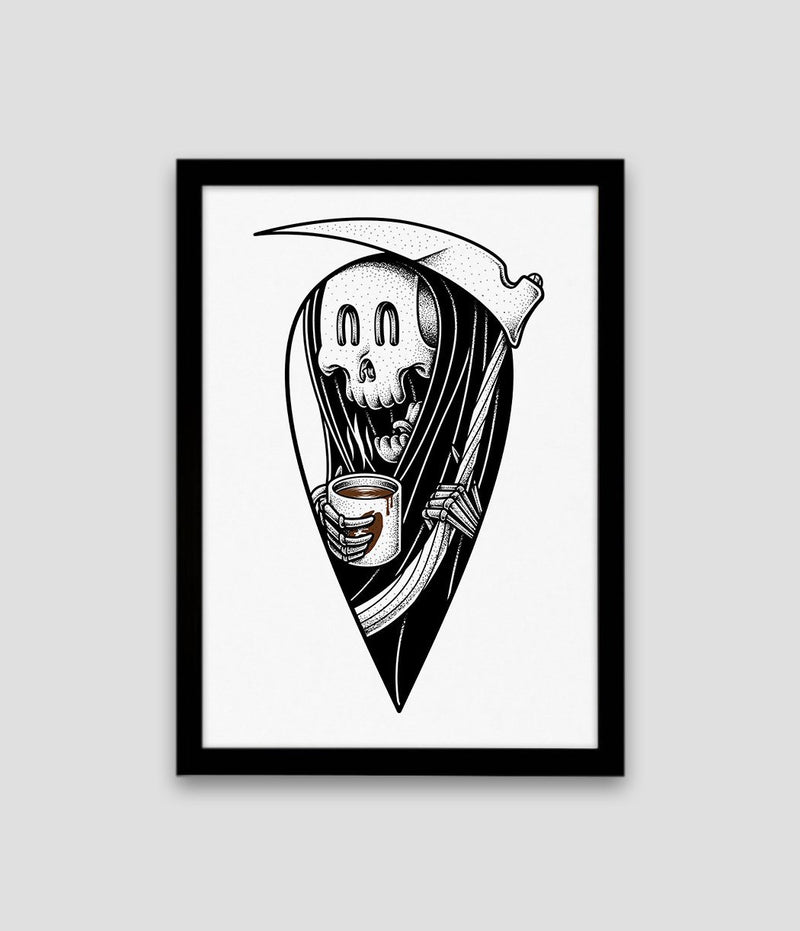 Coffee grim reaper a3 card art print