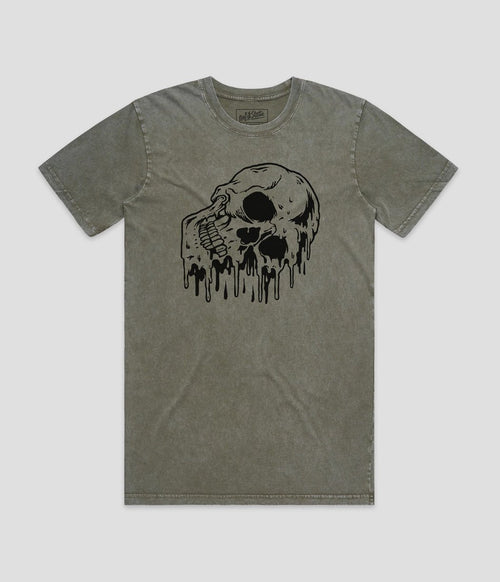 No Fit State Melting Skull Green Stone Wash T-Shirt
