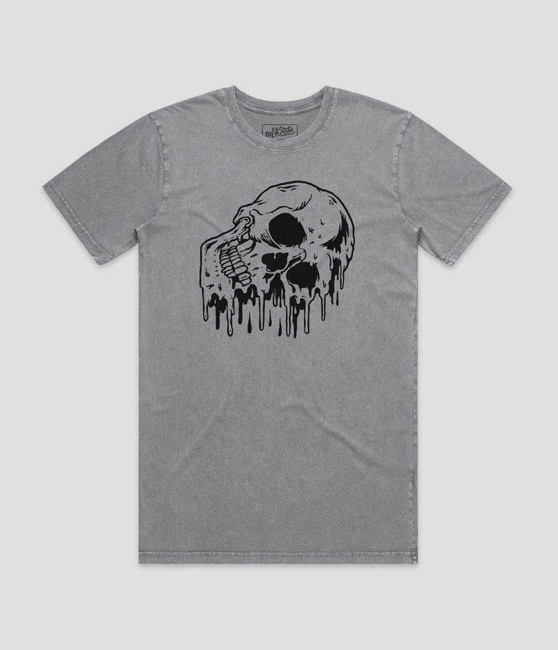 No Fit State Melting Skull Grey Stone Wash T-Shirt