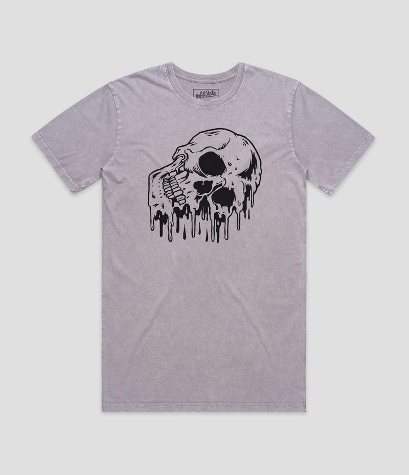 No Fit State Melting Skull Orchid Stone Wash T-Shirt