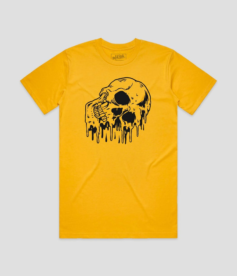 No Fit State Melting Skull Yellow Wash T-Shirt