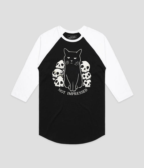 Not Impressed Black Cat Raglan T-Shirt No Fit State Clothing