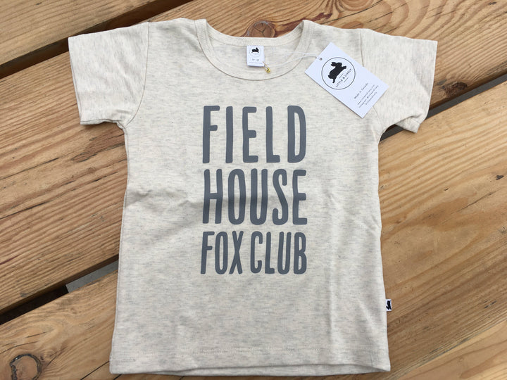 Field House Brewing's kids t-shirt in ash with Field House Fox Club in grey printed on the front. These are made in Abbotsford BC