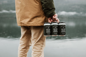 Field House Brewing's Salted Black Porter in a 6 pack of 355ML cans with a black and white label. Craft beer brewed in Abbotsford BC.