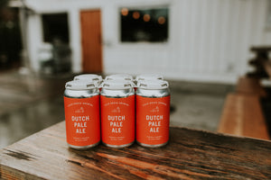 Field House Brewing's Dutch Pale Ale in a 6 pack of 355ML cans with white and orange labels. Craft beer brewed in Abbotsford BC.
