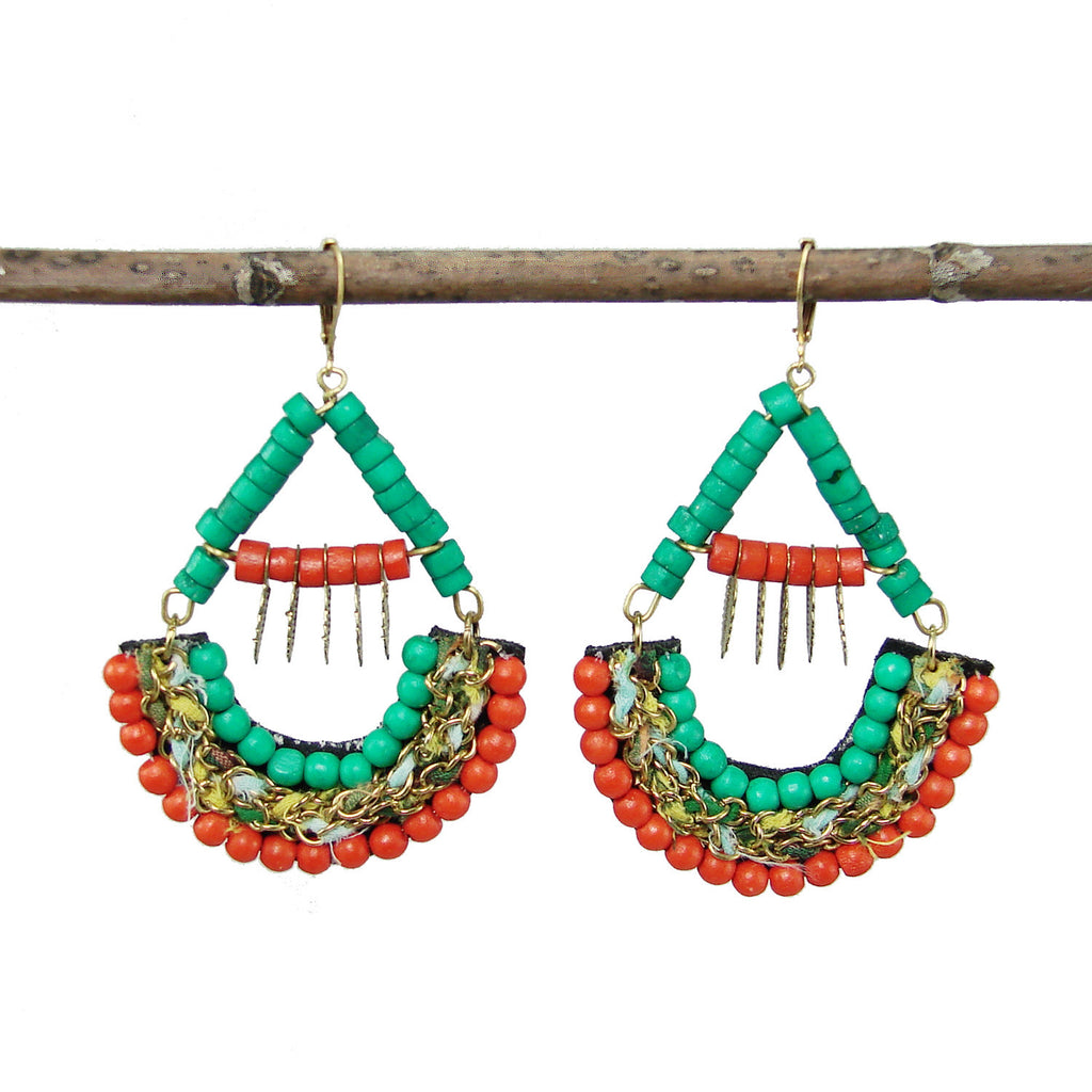 Turquoise and Coral Kantha Earrings - WorldFinds