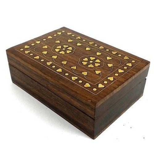 Handcrafted Sheesham Wood and Inlaid Brass Hearts Box - Noahs Ark (B) - Sunstone Holistic Health and Healing