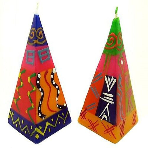 Set of Two Hand-Painted Pyramid Candles - Shahida Design - Nobunto - Sunstone Holistic Health and Healing