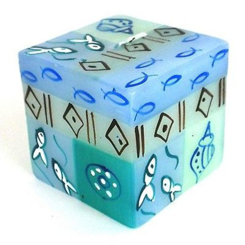 Hand-Painted Cube Candle - Samaki Design - Nobunto - Sunstone Holistic Health and Healing