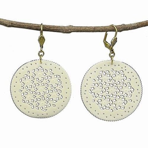 Lacy Round Bone Earrings in Natural - WorldFinds - Sunstone Holistic Health and Healing