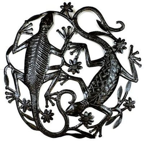 24 inch Metal Art Two Geckos - Croix des Bouquets - Sunstone Holistic Health and Healing