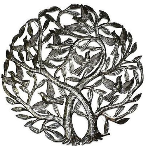 Double Tree of Life Metal Wall Art 24-inch Diameter - Croix des Bouquets - Sunstone Holistic Health and Healing