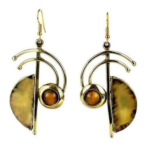 Symphony Tiger Eye Earrings - Brass Images (E) - Sunstone Holistic Health and Healing