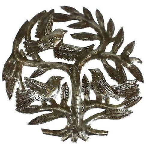 Haitian Steel Drum Tree of Life 8 inch Wall Art - Croix des Bouquets
