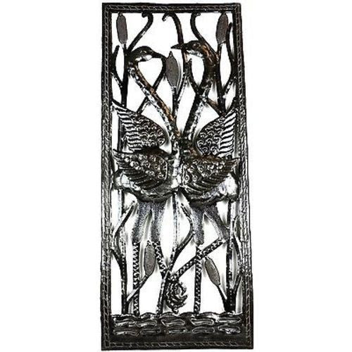 Two Cranes Through Window Metal Art - Croix des Bouquets - Sunstone Holistic Health and Healing