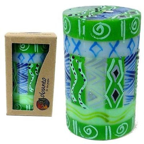 Single Boxed Hand-Painted Pillar Candle rih Design - Nobunto - Sunstone Holistic Health and Healing