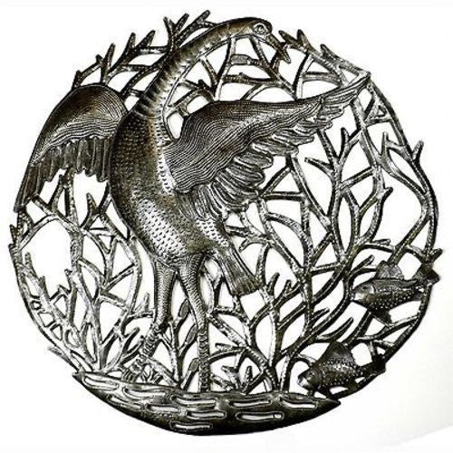 24-inch Single Crane Metal Art - Croix des Bouquets - Sunstone Holistic Health and Healing