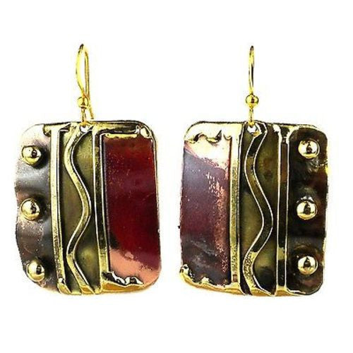 Trifecta Brass and Copper Earrings - Brass Images (E) - Sunstone Holistic Health and Healing